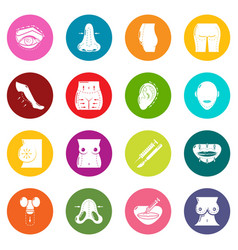Body parts icons set colorful circles vector