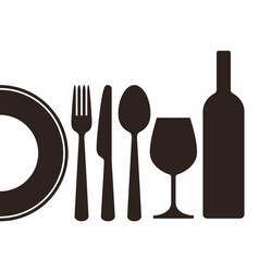 bottle wineglass plate knife fork and spoon vector image