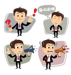 Businessman in various poses uses megaphone vector