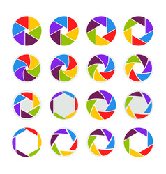 Camera icons logo shutter lens aperture vector