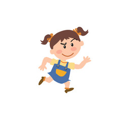Cartoon character girl running vector