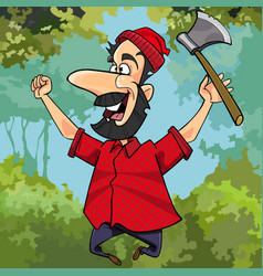 Cartoon lumberjack with axe joyously jumping vector