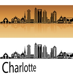 Charlotte skyline in orange vector