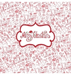Christmas season Doodle symbolsPattern background vector