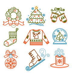 Christmas wreath and pine tree socks and mittens vector