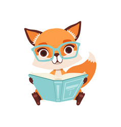Cute clever fox character sitting and reading a vector