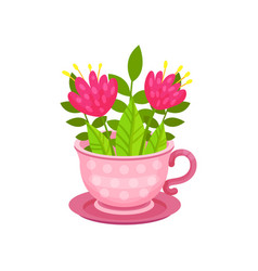 cute pink flowers and green leaves in cup on vector image