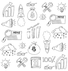 Doodle of design business icon set vector