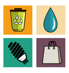 Eco friendly object icons vector