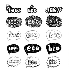 ecology doodles icon set vector image