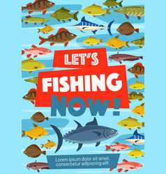 fishery poster with fish in water vector image
