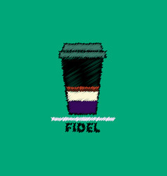 Flat icon design collection fidel coffee to vector