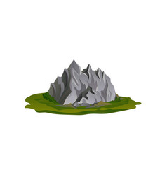 flat of gray rocky mountain vector image