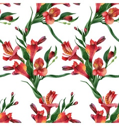 Floral pattern Seamless background Red vector image
