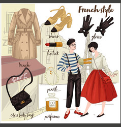 french style male and female clothes and fashion vector image