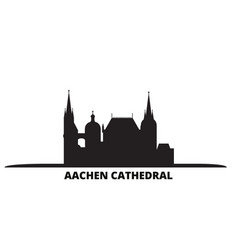 Germany aachen cathedral city skyline isolated vector