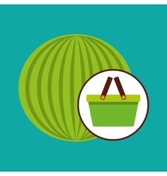 Green basket fresh watermelon design icon vector