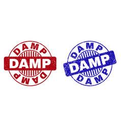Grunge damp textured round stamp seals vector