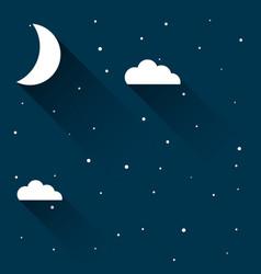 half moon in night sky with stars vector image