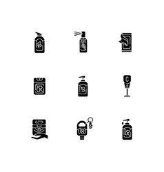 Hand sanitizers black glyph icons set on white vector
