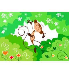 happy jumping monkey vector image