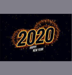 Happy new year 2020 fireworks beautiful vector
