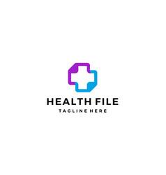 health file document medical logo design concept vector image