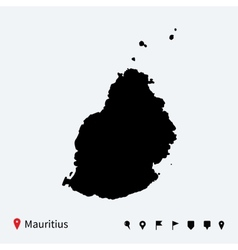 High detailed map of mauritius with navigation vector