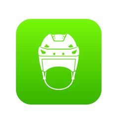 Hockey helmet icon digital green vector