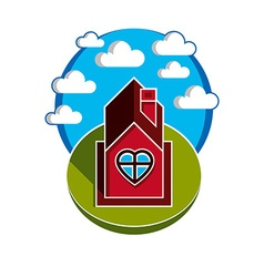 House on cloudy background beautiful fairy vect vector
