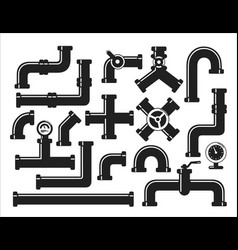 icon set pipes system and components vector image