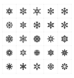 icon set - snowflake filled icon style vector image