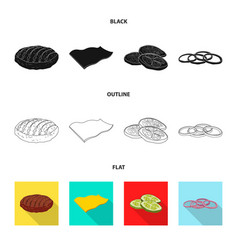 isolated object of burger and sandwich symbol set vector image