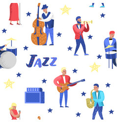Jazz music characters seamless pattern musical vector