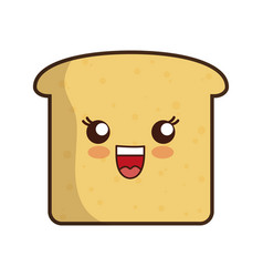 kawaii bread icon vector image