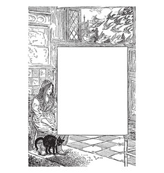 Lady and cat sitting in this frame vintage vector
