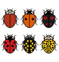ladybugs logos symbols icons signs set vector image