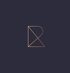 letter r logo monogram minimal style identity vector image