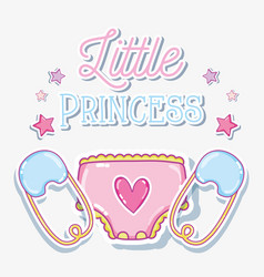 Little princess baby girl card vector