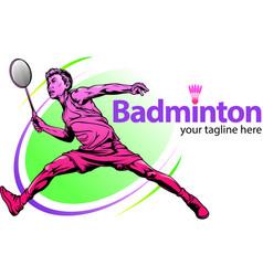 Male badminton player symbol vector