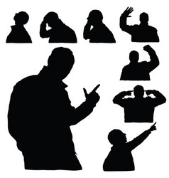Man silhouette body set in various poses in black vector
