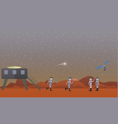 Mars mission concept in flat vector