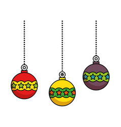 merry christmas balls decorative vector image