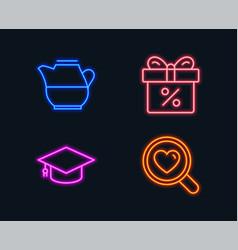 Milk jug graduation cap and discount offer icons vector