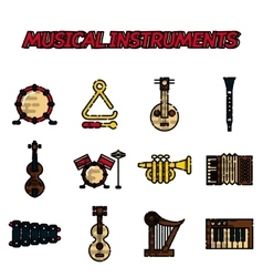 Musical instruments flat icon set vector