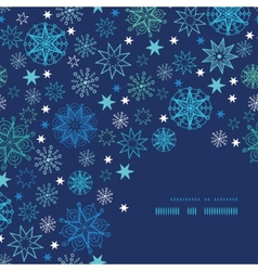 Night snowflakes frame corner pattern background vector image