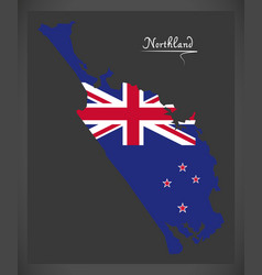Northland new zealand map with national flag vector