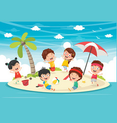 of kids playing at island vector image