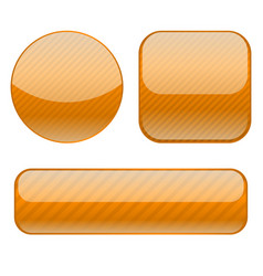 orange buttons collection of shiny 3d icons vector image