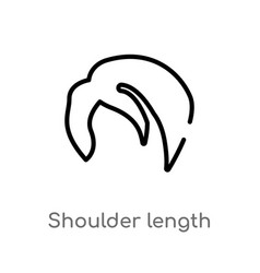Outline shoulder length icon isolated black vector
